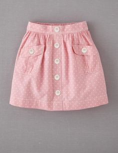 Mini Boden 'Spotty' Chambray Skirt (Little Girls & Big Girls) Sewing For Kids, Baby Sewing, Fashion Kids, Girl Fashion, Skirts For Kids, Girl Dress Patterns, Sewing Patterns, Frock Design, Little Girl Dresses