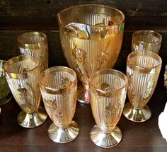Depression Glass Pitcher and Cups