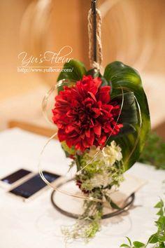 Yu's fleur (ユーズフルール)Wedding flower 港区ベイエリア flower Salon   ダリアの和装ブーケ
