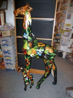 Painted Paper Papier Mache Hippo DIY Folk Art Floral Rachel Byass Decorative #Decopatch Giraffe Crafts, Giraffe Art, Giraffes, Quirky Decor, Prayer Quotes, Love Craft, Painted Paper, Art Floral, Fun Ideas