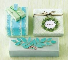 Use scrap booking paper to wrap small gifts, it can be cheaper and much more interesting than traditional wrapping paper. #giftwrap #green #turquoise