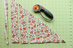 Cut two inch strips with a rotary cutter for bias tape