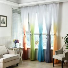 £4.49 GBP - Wonder Door Window Curtain Gradient Tulle Voile Drape Panel Sheer Valance 2.7M #ebay #Home & Garden
