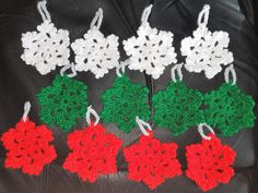 Hand Made Hanging Snowflakes, Crochet Christmas Snowflakes, Hanging Decorations, Christmas Tree Decorations by CraftychloeBoutique on Etsy