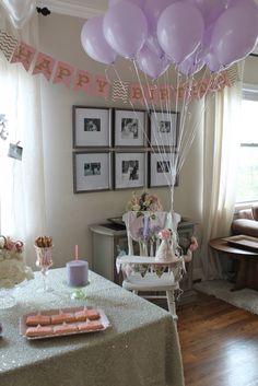 Lavender first birthday decorated high chair #firstbirthday #lavender #cakesmash #kippybaby