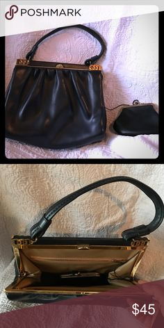 Vintage 1960's purse For those vintage girls , this bag is perfect! Black leather with the matching connected coin purse. The string that attaches it is original. Bags