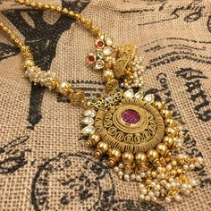 Sunflower pendant necklace with moti and stones - color options available