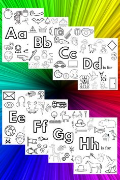 Alphabet coloring pages that you can print from home. Free printables for learning preschool and kindergarten phonics, letter recognition, and letter sounds. Preschool activity to keep your kids busy. Preschool Phonics, Preschool Letters, Preschool Learning Activities, Preschool Lessons, Learning Letters, Alphabet Activities, Teaching Kids, Preschool Coloring Pages, Alphabet Coloring Pages