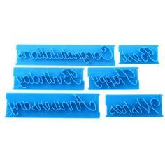 Duola 6 piezas alfabeto letra formas impresión morir DIY pastel decoración molde