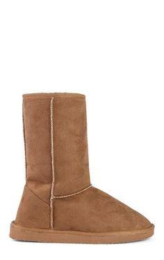 Deb Shops Short Faux Suede Slipper Boots $13.50