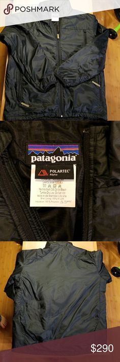 Patagonia black level 3a polartech jacket mens XL Great used condition! Small run in fabric by front chest pocket. Patagonia Level 3A black polartech alpha lightweight, compressible and breathable low loft jacket. Made exclusively for law enforcement and military, it is designed to be worn under body armor, this jacket provides additional warmth and insulation in intermediate cold conditions. Sleek design with full front zip, two hand pockets and one chest. Rare!  Check out my other closet…