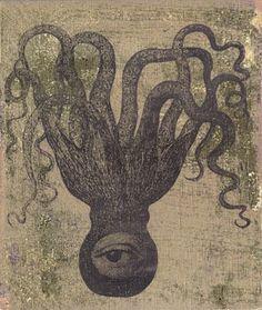 Piia Lehti: Mustekala / Octopus, silkscreen on plywood, 2013 Octopus Squid, Printmaking, Contemporary Art, Illustration, Prints, Plywood, Painting, Madness, Vintage