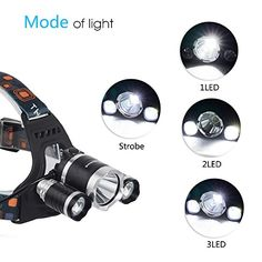 InnoGear® 5000 Lumen Bright Headlight Light Zoomable Headlamp Flashlight Torch Head Lamp 3 CREE XM-L XML T6 LED with Rechargeable Batteries and Wall Charger for Christmas Gifts Hiking Camping Outdoor Riding Night Fishing Hunting Running Night Riding  Features:    Brightness: 5000 lumen  Product weight: 300g, 10.6 oz  Item Type: Headlamps  Purpose: Camping  Light Source: 3 LED Bulbs  Model of LED Beads: T6  Battery Type: Lithium Ion  Wattage: 20 w  Waterproof: Yes  Light Color: White ..