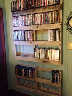 38 Ideas dvd storage diy shelves crate bookshelf for 2019 Home Diy, Diy Shelves, Diy Pallet Furniture, Crate Bookshelf, Pallet Home Decor, Home Decor Items, Easy Home Decor, Pallet Decor, Pallet Projects Furniture