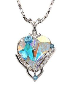 Valentines Day Gift Big Heart Pendant Necklace Swarovski Crystal MADE IN USA #WilliamWangDesigns