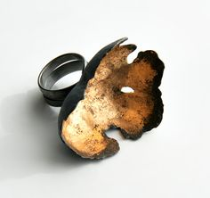 Nikolai Balabin -- Random Processes, ring, 2009, silver, patina, leaf gold, 40 mm