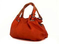 vegan leather handbag purse orange -.- the Nola -.- by Traccebags