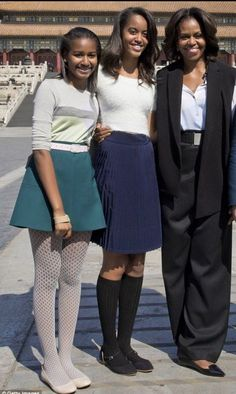 Sasha, Malia and First Lady Michelle Obama