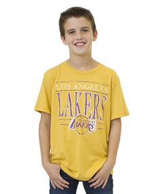 Take a look at this Mustard Los Angeles Lakers Tee - Boys by Junk Food on #zulily today!