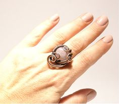 wire wrapped ring gemstone ring Rose Quartz Ring by BeyhanAkman