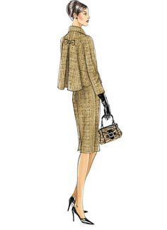 V8146 | Misses'/Misses' Petite Raglan Sleeve Jacket and Sleeveless Dress Sewing Pattern | Vogue Patterns