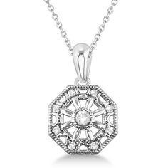 Designer Vintage Diamond Pendant Necklace Sterling Silver (0.04ct) Women's