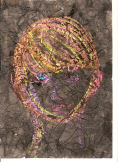 1a zelfportret, wastechniek: wasco, ecoline en verfrommelen