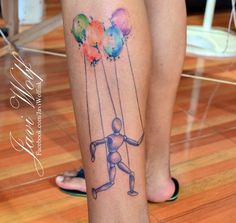 Javi Wolf Tattoo- puppet and balloons, watercolor