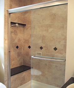 Master Bath Zero Entry Tiled Shower Nickel Roman Tub Filler Shower