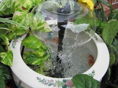 My water fountain on my small garden patio. I love gardens, flowers, and water fountains. This one is a DIY: All you need is a nic. Diy Water Fountain, Diy Garden Fountains, Stone Fountains, Water Fountains, Love Garden, Water Garden, Small House Furniture, Diy Furniture, Water Features In The Garden