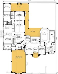 Floor Plan. Game room isn't big enough for pool table. Would rework that space.