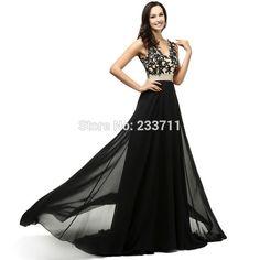 Real Picture V Neck Split A Line Chiffon Lace Beaded Long Black Prom Dresses Abendkleider 2016 Lace-Up Court Train 41232