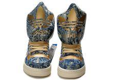 013 ObyO Jeremy Scott M Attitude Logo Womens Adidas Originals Shoes - Denim Gold