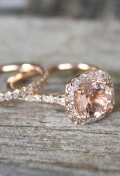 Rose Gold Engagement Ring Set. I am completely in love with these rings. Expensive. But lovely!