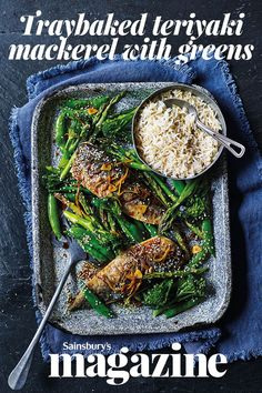 Make our traybaked teriyaki mackerel with greens recipe for a quick and easy midweek meal for A dairy-free main full of Asian flavour and ready in just 15 minutes. Kitchen Recipes, Cooking Recipes, Healthy Recipes, Healthy Meals, Yummy Recipes, Dinner Recipes, Fish Recipes, Seafood Recipes, Seafood Meals