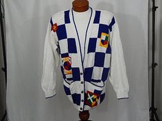 Vintage Elizabeth Plus Size 2X Heraldry Coat of Arms Shields White Blue Red Sweater 90s Nineties Long Sleeve Cardigan UGLY CHRISTMAS SWEATER by UglySweaters4U on Etsy