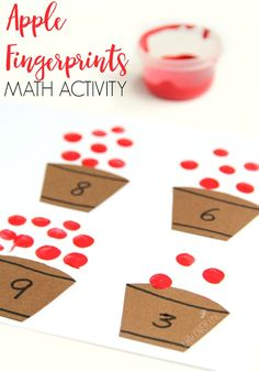 Fingerprint apple counting activity that is perfect for building fine motor development and math skills this Fall.
