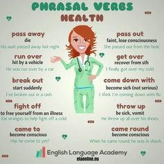Phrasal Verbs: Health - We can use a lot of phrasal verbs to talk about illnesses. A tool that can remind child life and other staff how confusing language can be and that often times children, esp preschool and school-age take words literally English Vinglish, English Tips, English Idioms, English Phrases, Learn English Words, English Writing, English Study, English Lessons, English Vocabulary