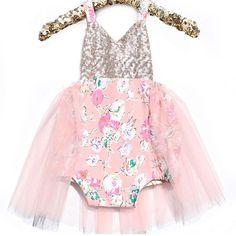 """Baby glam!! Darling ""Luxe Garden"" romper By @bellethreads #poshkids #glam #luxurychildren #sparkle #bling #boutique #storybookbliss #pink #sequins #shop…"""