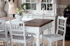Dining Room. Grey, Black, Chippy, Shabby Chic, Whitewashed, Cottage, French Country, Rustic, Swedish decor Idea. ***Pinned by oldattic ***.