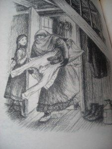 Ma Ingalls bringing in the wash. From The Long Winter, Laura Ingalls Wilder. Illustration by Garth Williams.