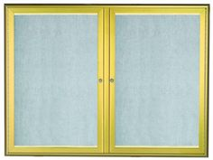 LOWFC3648G. LED Lighted Enclosed Bulletin Board with Aluminum Waterfall Style Frame. Frame is Gold. Back Panel is Neutral Burlap Weave Vinyl. 36″Hx48″W. Two  Door