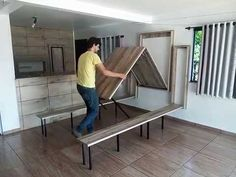 Folding Furniture, Space Saving Furniture, Home Furniture, Space Saving Beds, Home Room Design, Tiny House Design, Wall Mounted Dining Table, Wall Table Folding, Foldable Dining Table