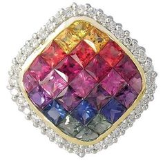 Multicolor Rainbow Sapphire & Diamond Invisible by RainbowSapphire on Etsy