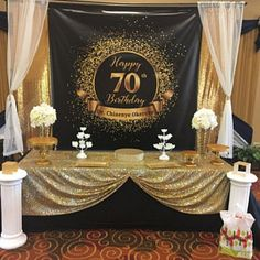Birthday Backdrop Personalized Gold Party Banner for Woman or 70th Birthday Ideas For Mom, 75th Birthday Parties, Gold Birthday Party, 50th Party, 70th Birthday Decorations, 75 Birthday Party Ideas, 70 Birthday, Birthday Table, Graduation Parties