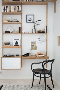 Great Home Office Shelving Design And Decor Ideas Office Shelving, Office Shelf, Shelving Ideas, Ikea Office, Home Office Design, Home Office Decor, Svalnäs Ikea, Ikea Hack, Ikea Interior
