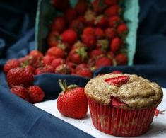 Gluten-Free Strawberry Flax Yogurt Muffins - a healthy snack for kids. Great for breakfast on the go, a snack, or in a lunch box!