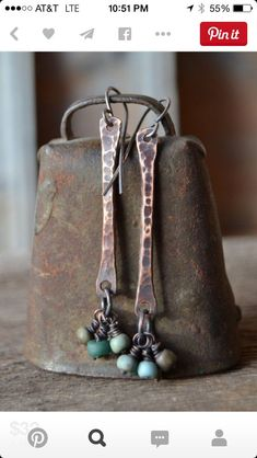 oxidized copper dangle earrings with teal, blue, and green matte glass beads and sterling silver ear wires by Sonia ʚϊɞ Nesbitt Copper Earrings, Copper Jewelry, Wire Jewelry, Jewelry Crafts, Jewelry Art, Beaded Jewelry, Dangle Earrings, Jewelry Design, Jewellery