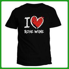 Idakoos I love Rose Wine chalk style - Drinks - T-Shirt - Food and drink shirts (*Amazon Partner-Link)