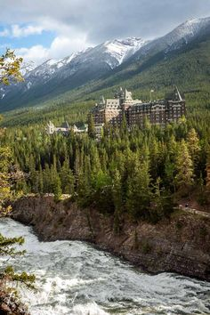 fairmont banff spring hotel perched above the bow river